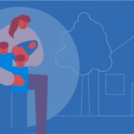 An illustration of a woman (Martha) with her children outside of a safe home