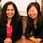 Lucia Corral Pena and Mimi Kim sitting down together