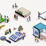 An illustration that shows scenes from communities of the future