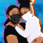 A woman and a child wearing masks for covid-19