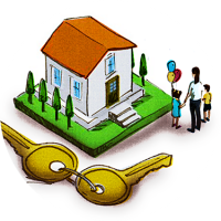 Illustration of a set of house keys next to a house, signifying access to capital like home mortgages