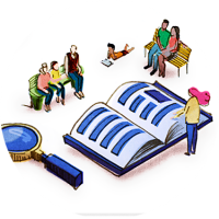 Illustration shows a magnifying glass and community members consulting a large book