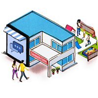 Illustration of a couple walking into a building labeled community center