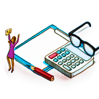 Illustration shows a woman with arms, signifying victory over the calculator and notepad she stands over