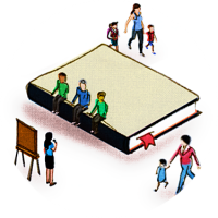Illustration shows community members seated on a book, signifying learning, and watching a presenter